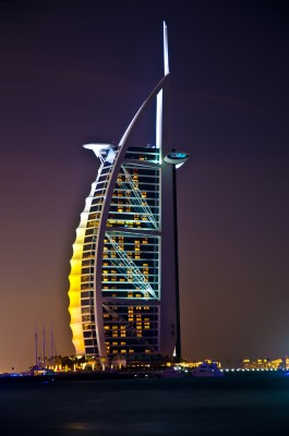 Dubai's Burj-al-Arab Hotel at night