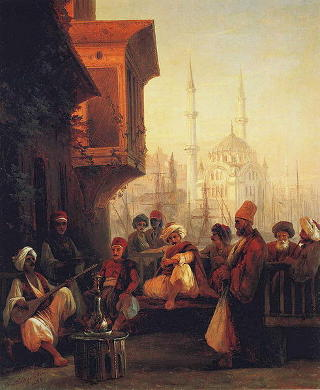 Coffee-house by the Ortaköy Mosque, Constantinople by Ivan Aivazovsky