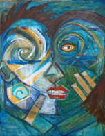 Cubist-style painting of two surreal faces in mid-embrace