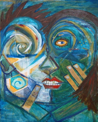 Painting of two surreal faces in mid-embrace