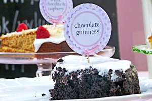 Chocolate Guinness cake on display