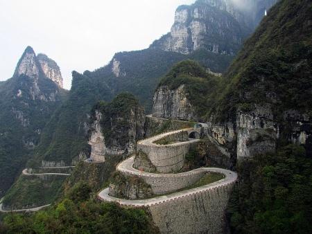 Winding road in Zhangjiajie, Hunan Province, China