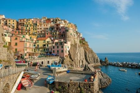 The village of Manarola on a cliffside on Italy's Ligurian coast