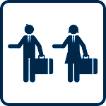 Pictogram of male and female business travellers