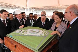 President Roussef and Pelé on a stadium inspection
