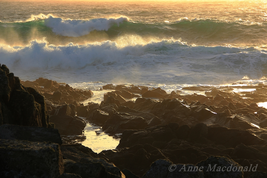 Sunlit waves breaking off the shore at Hamnavoe, Shetland