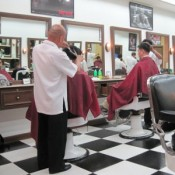 Inside a barber's shop
