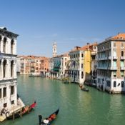 View of Venice's Grand Canal from the Rialto Bridge