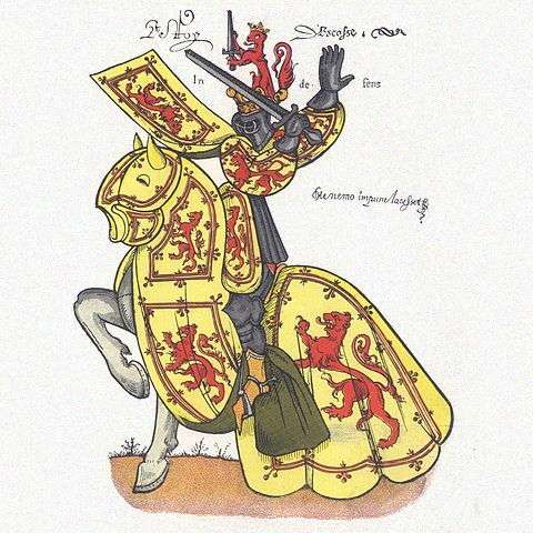 King of Scots, mounted, in full armour