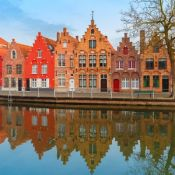 Buildings alongside a canal in Bruges