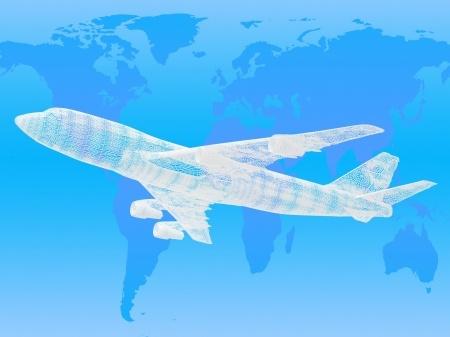 aircraft on world map