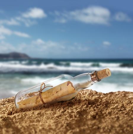 A message-in-a-bottle on a sandy beach