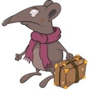 Cartoon rat with a suitcase