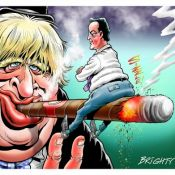 Cartoon of Boris Johnson and David Cameron by Steve Bright