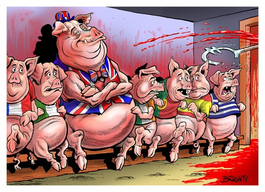 Steve Bright's cartoon of PIIGS to the slaughter