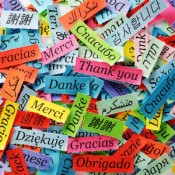 "The words ""Thank you"" in several different languages"