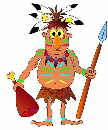 "cartoon of a ""native"" with bone in hair"