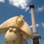 Shaun the Sheep as Nelson in Trafalgar Square