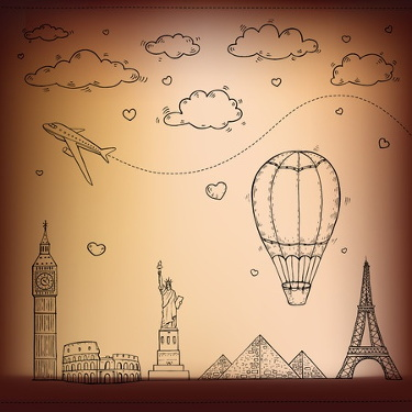 Drawing of a plane and a hot air balloon over various world landmarks