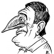 Self-portrait caricature of Andrew Birch