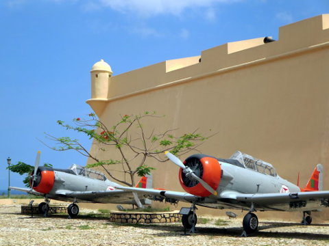 North American T-6 Harvards on display in Luanda