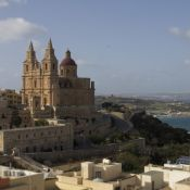 Mellieha parish church, Mellieha Bay and Gozo