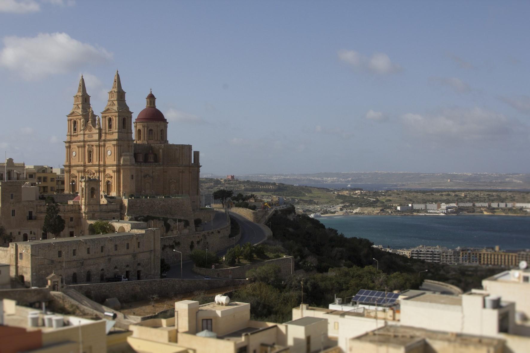Mellieha parish church, Mellieha Bay and Gozo