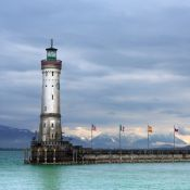 Lighthouse at Lindau harbour in Lake Constance