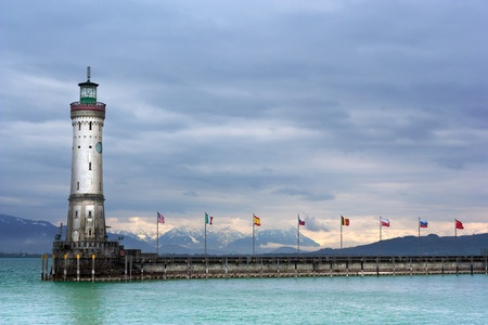 The Lighthouse on the harbour entrance at Lindau on Lake Constance