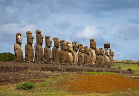 A line of moai - statues on Easter Island (Rapa Nui)