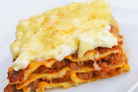 photo of a traditional lasagne made with a minced beef sauce and bechamel