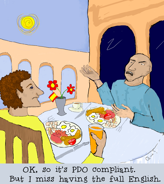 "Cartoon of guys in Spain eating a fried breakfast that they can no longer call ""English"""