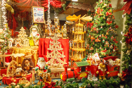 Christmas display in a Bruges shop window
