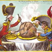 "Gillray's ""The Plumb-pudding in danger"" political caricature"