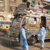 A brightly coloured bus in Karachi, Pakistan