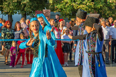 A children's artistic collective performs dances for Ukraine's National Day