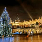 A Christmas tree beside Krakow's Cloth Hall