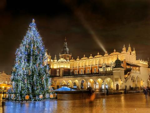 A Christmas tree beside Kraków's Cloth Hall