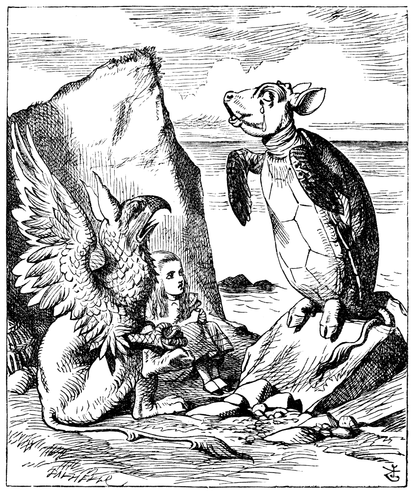 Sir John Tenniel's drawing of Alice, the Gryphon and the Mock Turtle. The Mock Turtle has a calf's head, rear legs and tail.