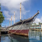 "The ""Falls of Clyde"" sailing ship moored in Honolulu harbour"