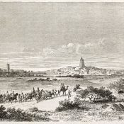Arrival in Timbuktu - an engraving from the Parisian weekly journal Le Tour du Monde, 1860
