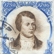 Robert Burns on a commemorative postage stamp