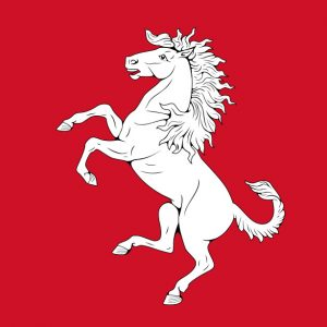 Flag of Kent - white horse rampant on a red field