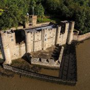 Upnor Castle's river-facing aspect, viewed from the air
